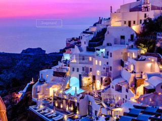 サントリーニ島の夕陽の写真・画像素材[3151518]