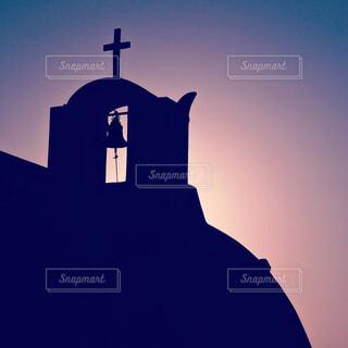 夕陽に染まる教会の写真・画像素材[4415319]