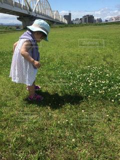 草の中に立っている小さな女の子の写真・画像素材[3154686]