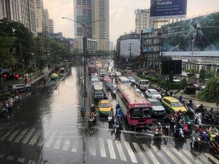 雨,道,タイ,通り,渋滞,交通,大雨,浸水,忙しい,大気汚染