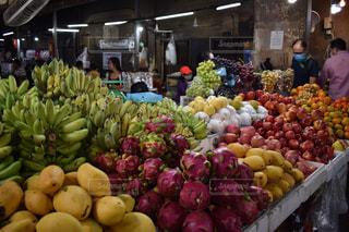 食べ物,風景,南国,果物,市場,東南アジア,マーケット,カンボジア,通り,バナナ,リンゴ,販売,食料品店