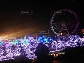 夜の遊園地の写真・画像素材[3340328]