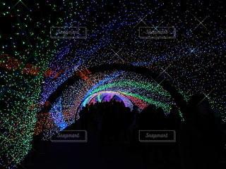 イルミネーションのトンネルの写真・画像素材[3340330]