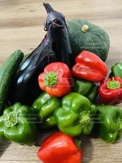 食べ物,野菜,かぼちゃ,食品,ピーマン,キュウリ,緑黄色野菜,家庭菜園,新鮮,食材,茄子,赤ピーマン,フレッシュ,ベジタブル,とりたて野菜,青ピーマン