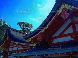 空,神社,青,カラー