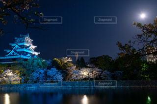 城,景色,月,広島城