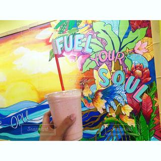 カフェ,朝食,ピンク,ハワイ,スムージー