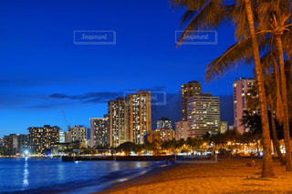 海,夜景,海外,ビーチ,観光,ハワイ,ワイキキ,海外旅行