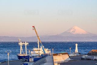 自然,海,富士山,船,夜明け,港,カモメ,暁,伊豆大島,岡田港