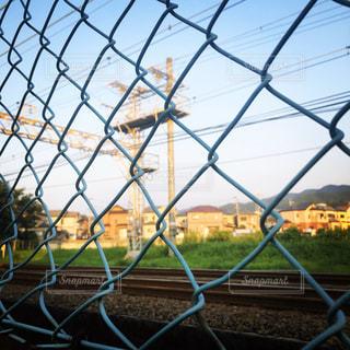 電車,線路,夕方,景色,フェンス,黄昏れ