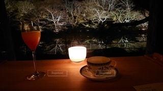 夜景,テーブル,キャンドル,カップ,ロマンチック,デート