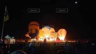 夜,気球,風船,ライトアップ,バルーン,バルーンフェスタ