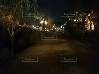 夜の街の通りの眺めの写真・画像素材[3165745]