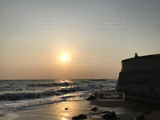 海,夕暮れ,波,海岸,夕陽