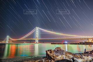 夜景,星空,水面,神戸,流木,吊り橋,明石海峡大橋,canon,アジュール舞子
