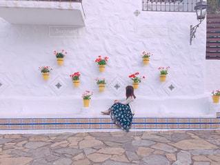 女性,花,屋外,旅行,壁面,リゾート