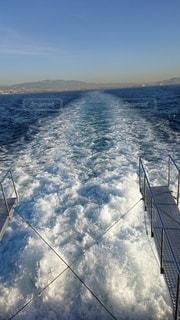 風景,海,空,屋外,晴れ,船,水面,泡,日中