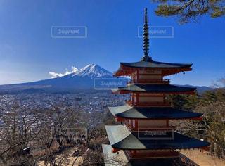 自然,空,富士山,雪,神社,雲,山,五重塔,日本,眺め,新倉富士浅間神社