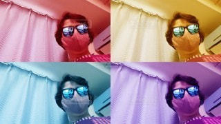 サングラスとマスクでステイホームの写真・画像素材[3544521]
