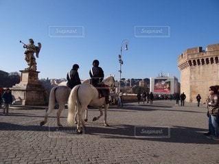 ローマを歩く白馬の写真・画像素材[3244457]