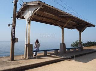 日本一海に近いホームの写真・画像素材[3244793]