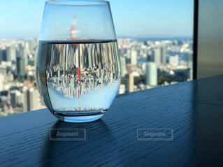 空,東京タワー,屋外,水面,ガラス,逆さに映る世界