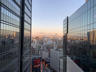 風景,空,建物,夕焼け,窓,景色,都会,高層ビル