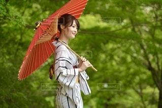 和傘をもって微笑む浴衣美女の写真・画像素材[3519771]