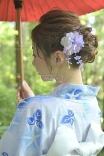 美しい浴衣女性のクローズアップの写真・画像素材[3535154]