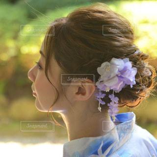 浴衣を着た美しい女性の表情の写真・画像素材[3591177]
