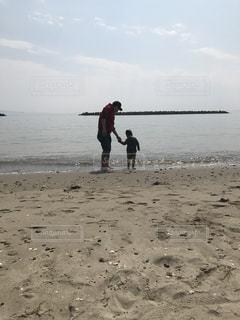 海,空,ビーチ,親子,砂浜
