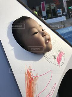 窓,人,顔,幼児,段ボール