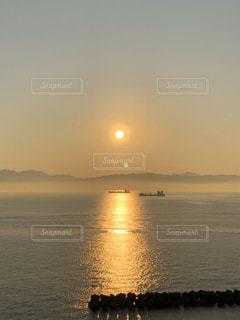 自然,風景,海,空,屋外,太陽,ビーチ,夕暮れ,船,水面