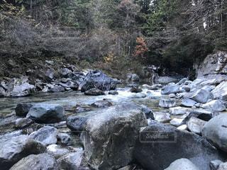 自然,秋,屋外,川,水面,山,樹木,岩