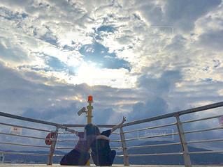 空,屋外,雲,船,景色,青春,友達,くもり,景観,日中