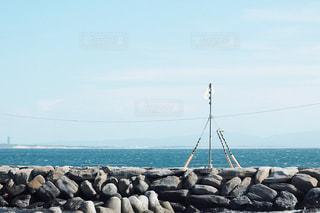 海の近くの岩の上に立ってカモメの群れの写真・画像素材[1405381]