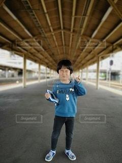 風景,駅,笑顔,鉄道,少年