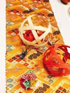 かわいい,カラフル,オレンジ,テーブル,テーブルクロス,テーブルフォト,折り紙,折紙,和柄,手まり