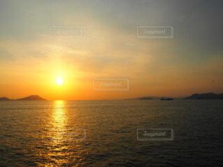 自然,風景,海,空,朝日,島,正月,お正月,地平線,日の出,新年,初日の出,穏やか