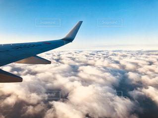 空を飛ぶ大きな飛行機の写真・画像素材[3184529]
