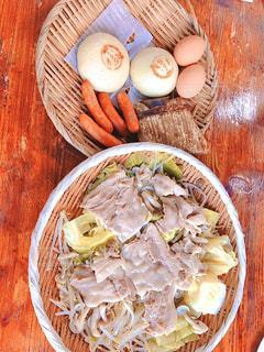 食べ物,食事,テーブル,野菜,皿,木目,地獄蒸し,スーパーの食材