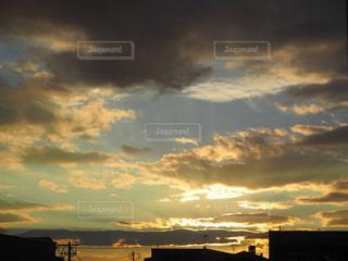 空,秋,夕日,雲,夕暮れ,景色,カラー
