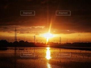 空,屋外,太陽,雲,散歩,水面,オレンジ,田んぼ,田園,夕陽