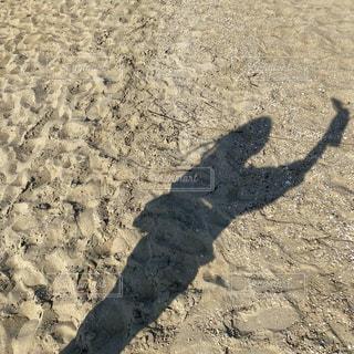 自撮り,ビーチ,砂浜,影