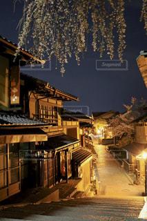 建物,桜,夜,坂,通り,さくら,産寧坂