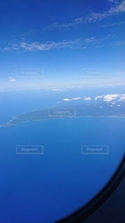 海,空,飛行機,青い空,飛ぶ,青い