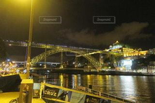 夜,橋,夜景,屋外,水面,旅行,ポルトガル,海外旅行