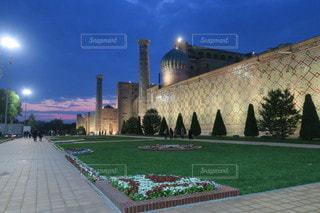 空,建物,夜景,屋外,青,夕暮れ,旅行,海外旅行,ウズベキスタン