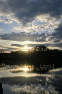 自然,風景,屋外,湖,夕暮れ,水面,反射,光,旅行