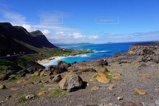 自然,風景,海,空,屋外,ビーチ,水面,海岸,山,岩,ハワイ,Hawaii,岬,眺め,クラウド,マカプウ岬